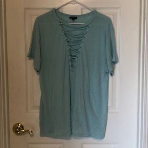 Large Express Lace-Up Front Girlfriend Tee